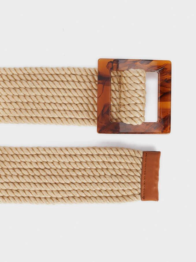 Raffia Belt With Tortoise-Shell Effect Buckle, Beige, hi-res