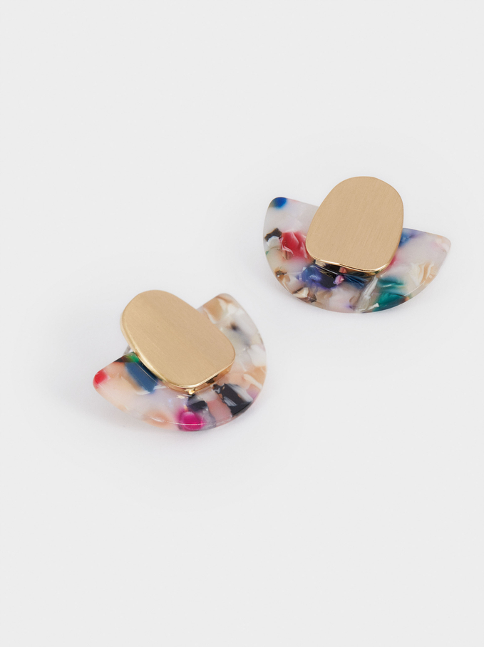 Short Geometric Earrings, Multicolor, hi-res