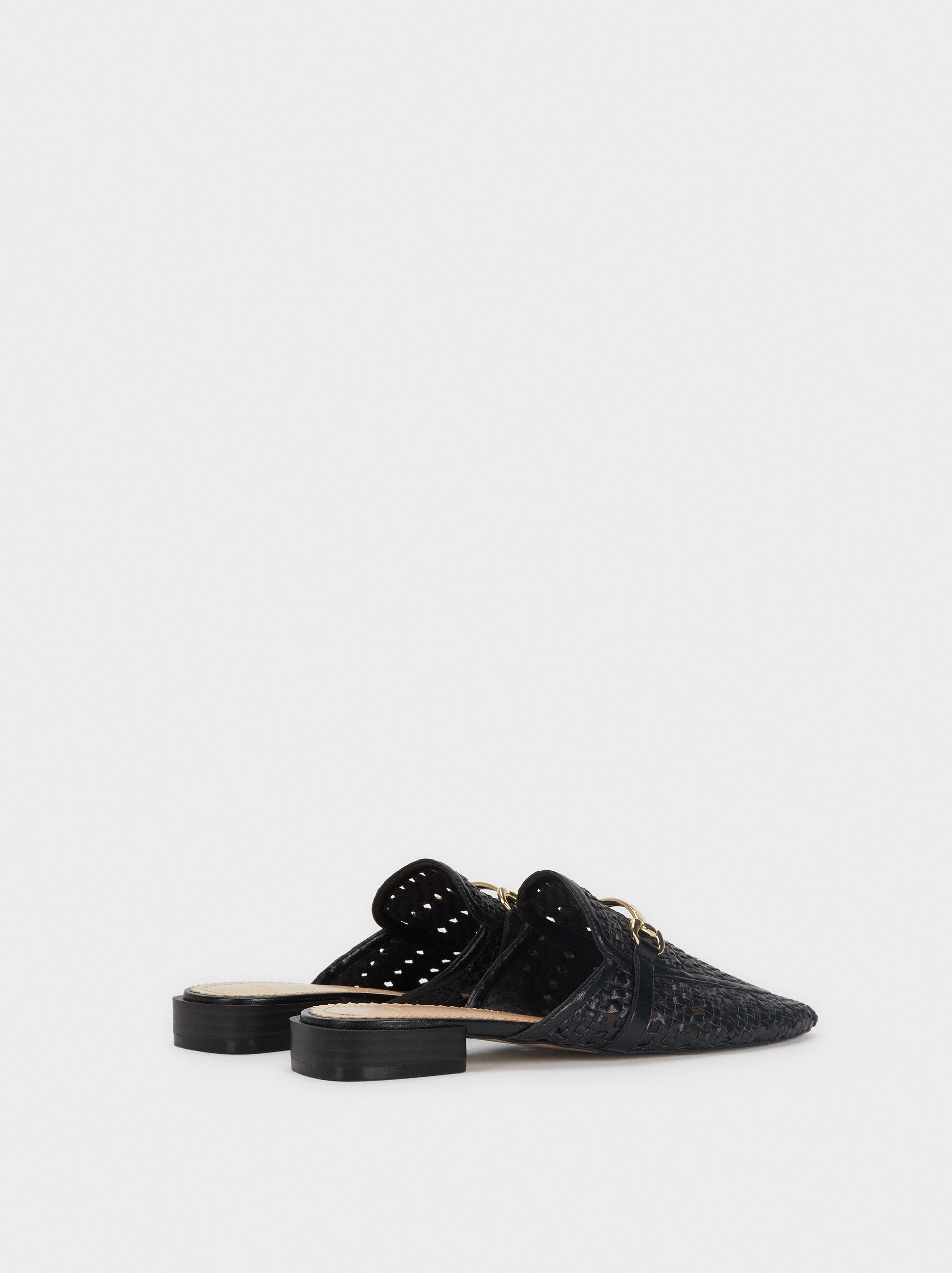 Flat Plaited Mules With Metallic