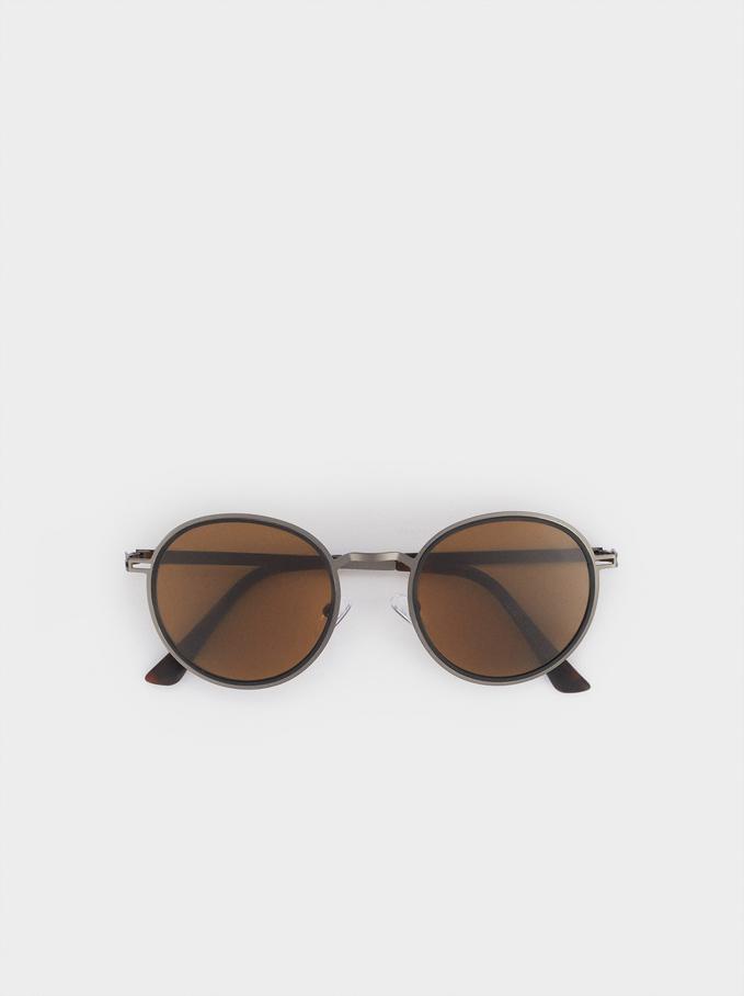 Metalowe Okragle Okulary Przeciwsloneczne , Zloty, hi-res