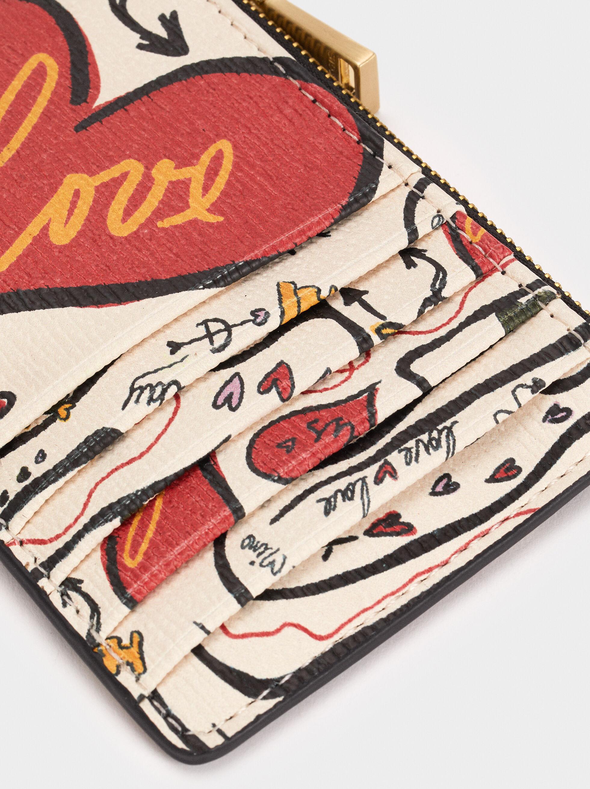 We Are Love Print Card Holder, Ecru, hi-res