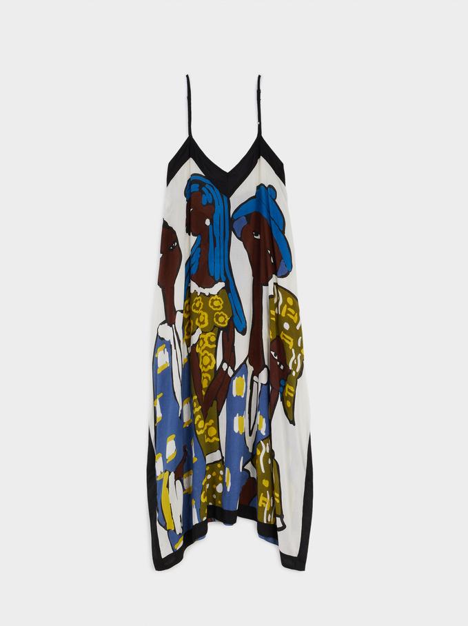 Wzorzysta Sukienka 100% Modal, Ecru, hi-res