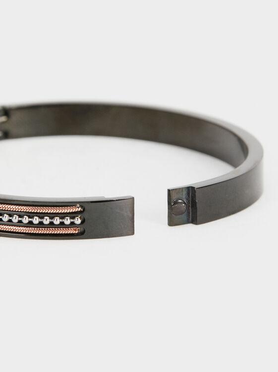 Beaded Steel Bracelet, Black, hi-res
