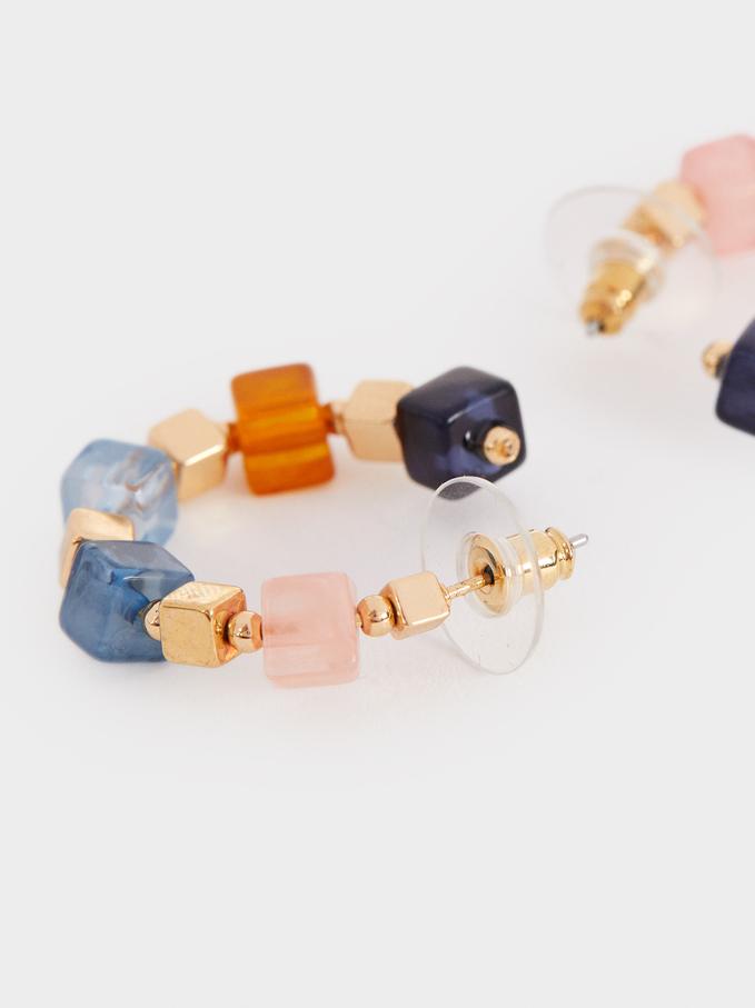 Small Multicoloured Resin Hoop Earrings, Multicolor, hi-res