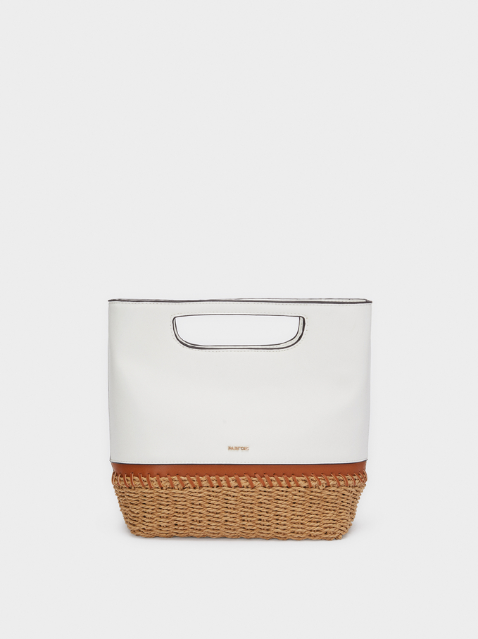 Bucket Bag With A Textured Raffia Base, White, hi-res
