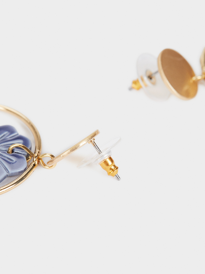 Medium Gold Flower Earrings , Multicolor, hi-res