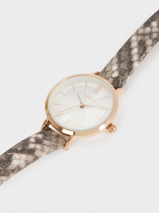Watch With Animal Print Wristband, Grey, hi-res