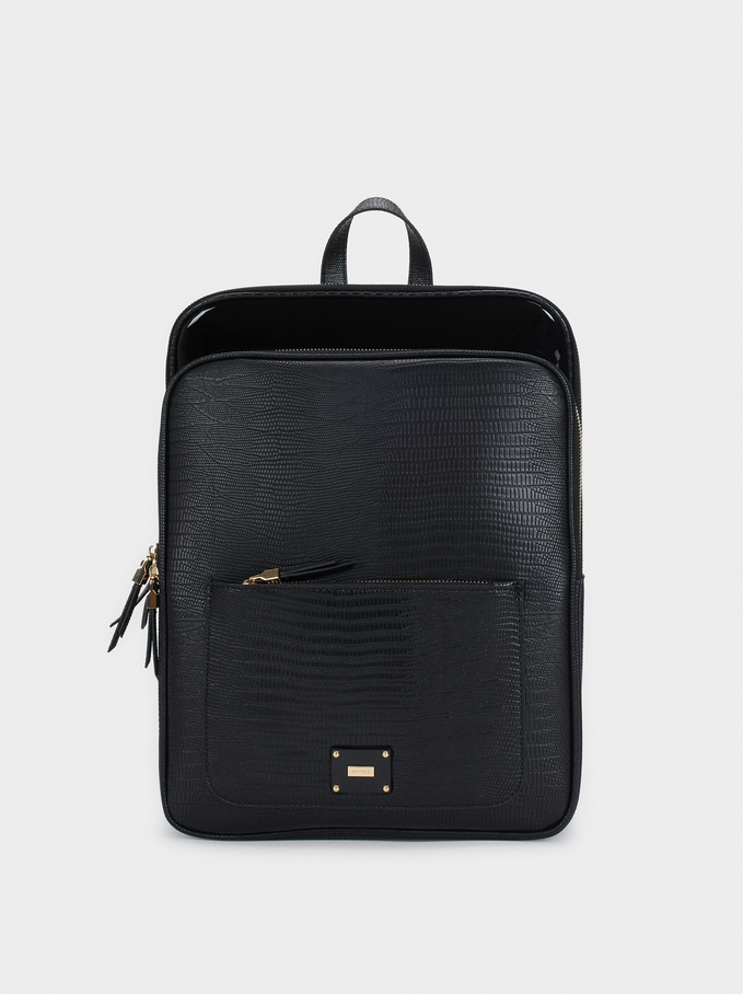 Animal Embossed Backpack, Black, hi-res