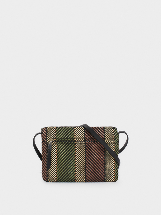 Braided Fabric Crossbody Bag, Khaki, hi-res