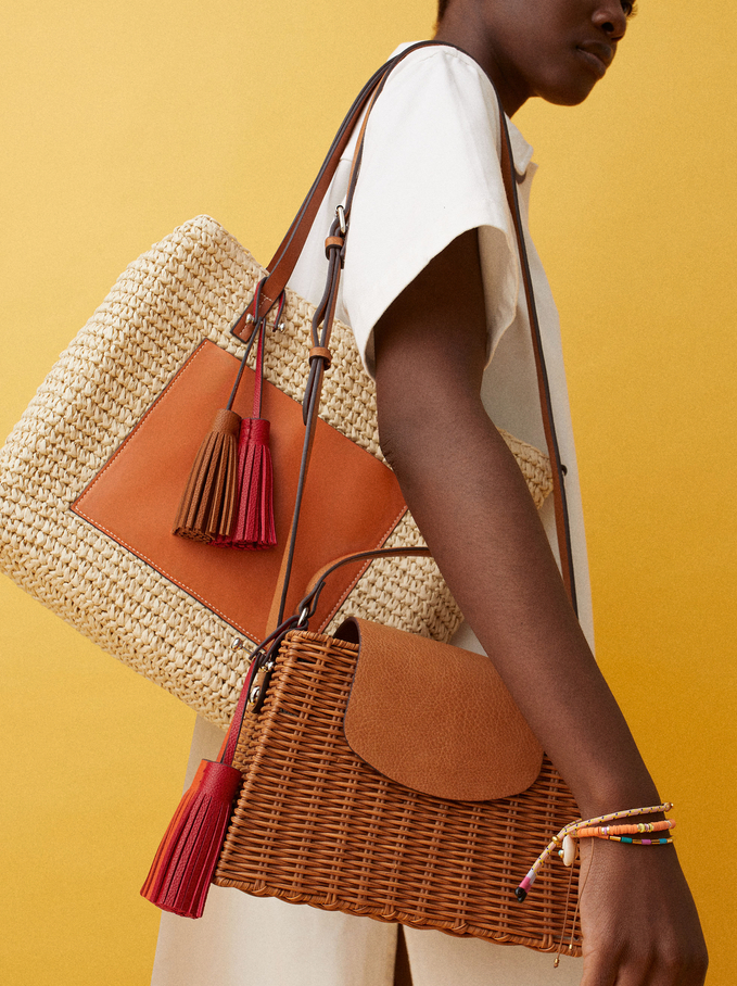 Raffia Textured Crossbody Bag With Pendants, Camel, hi-res