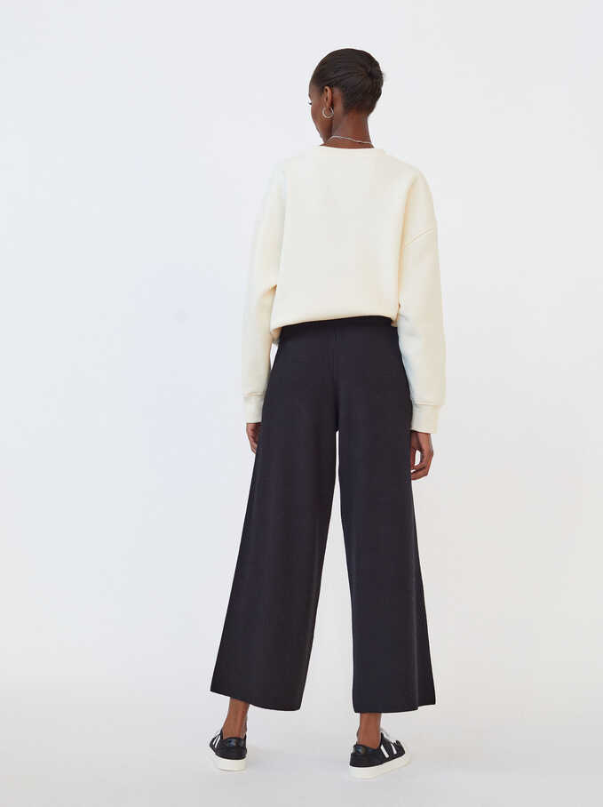 Knit Wide-Leg Trousers, Black, hi-res