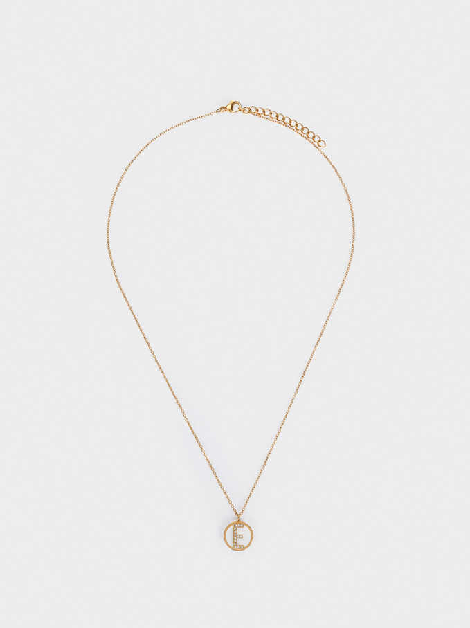 Short Steel Necklace With Letter E, Golden, hi-res