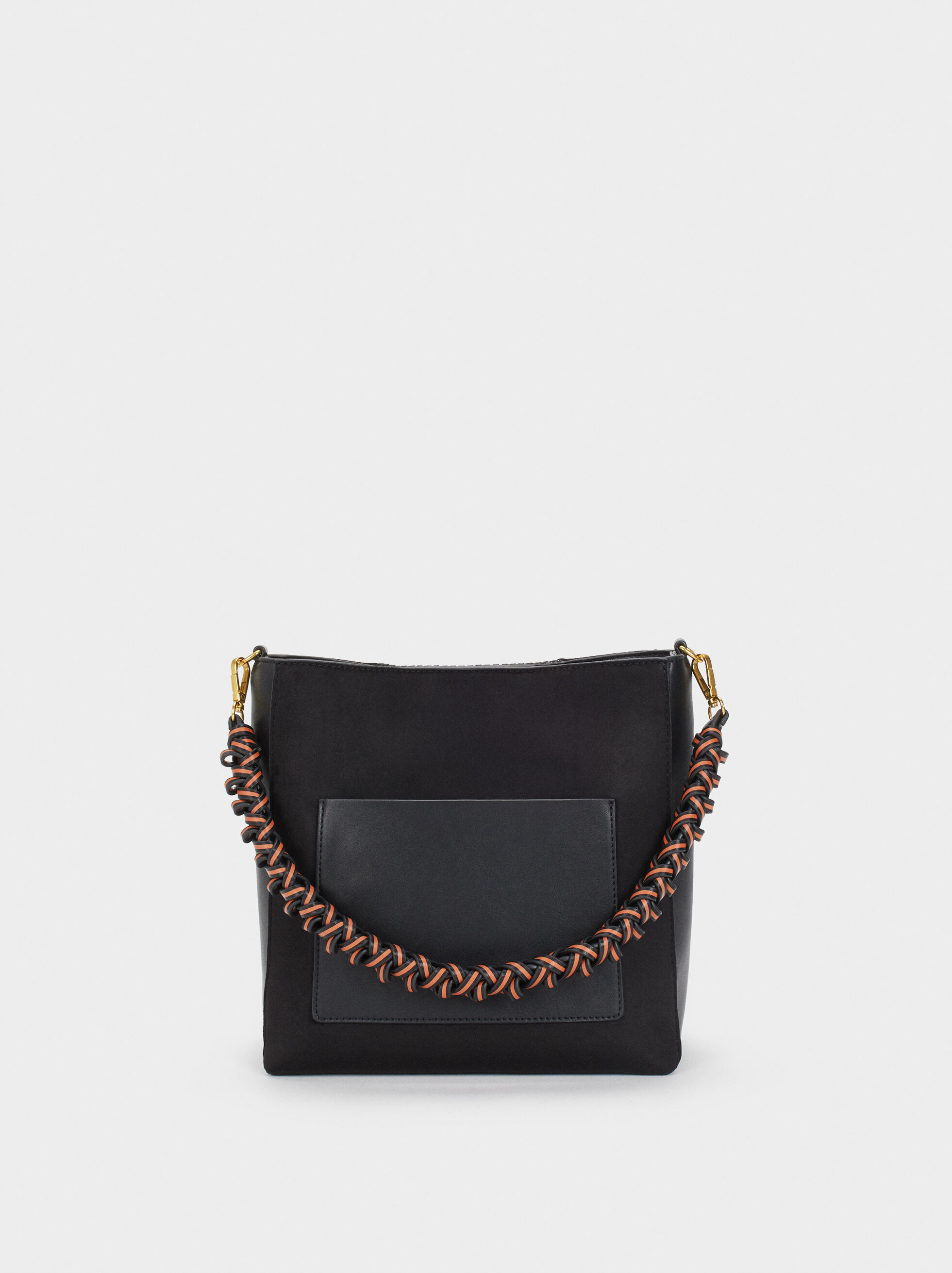 Handbag With Braided Strap, Black, hi-res