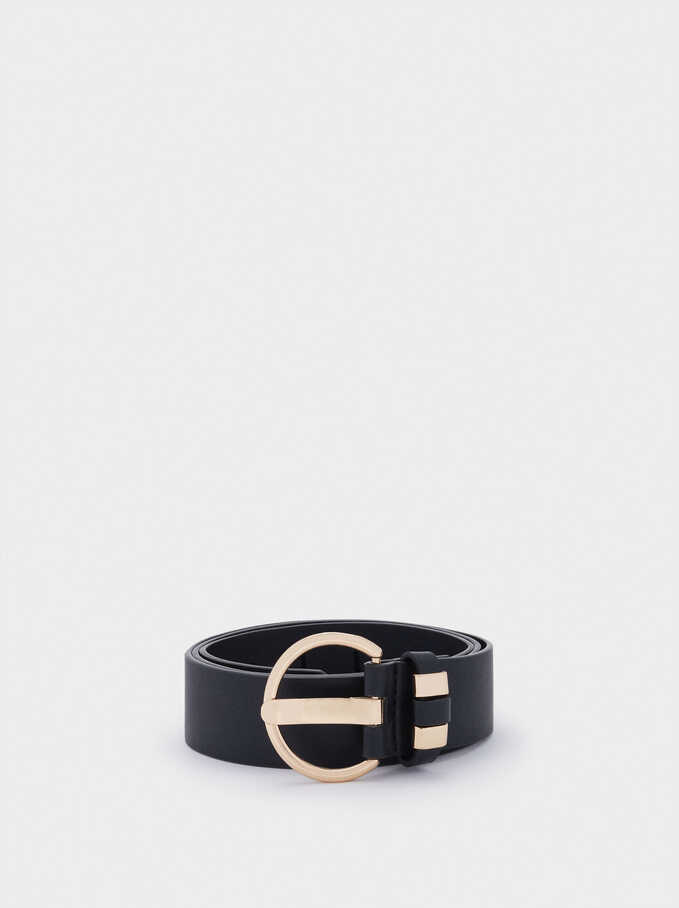 Belt With Round Buckle, Black, hi-res