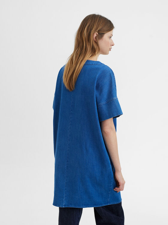 Dress With Pocket, Blue, hi-res