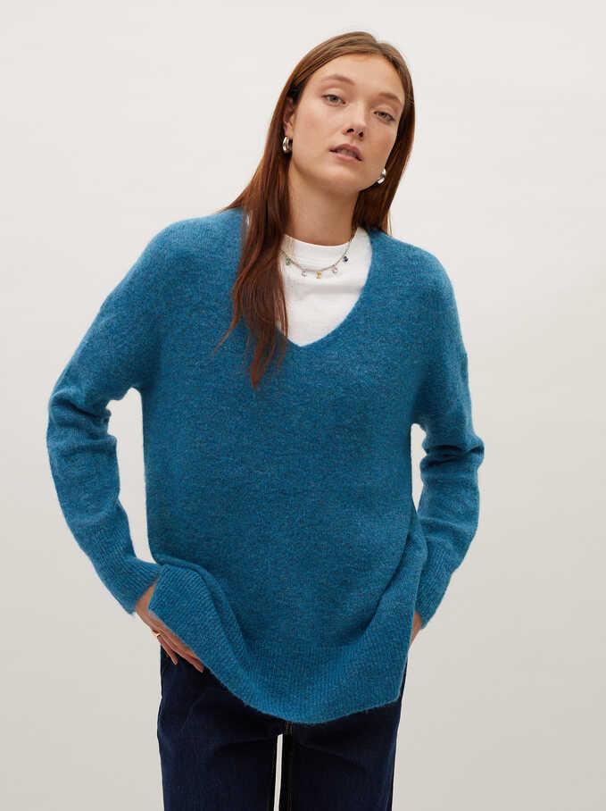 V-Neck Knit Sweater, Blue, hi-res