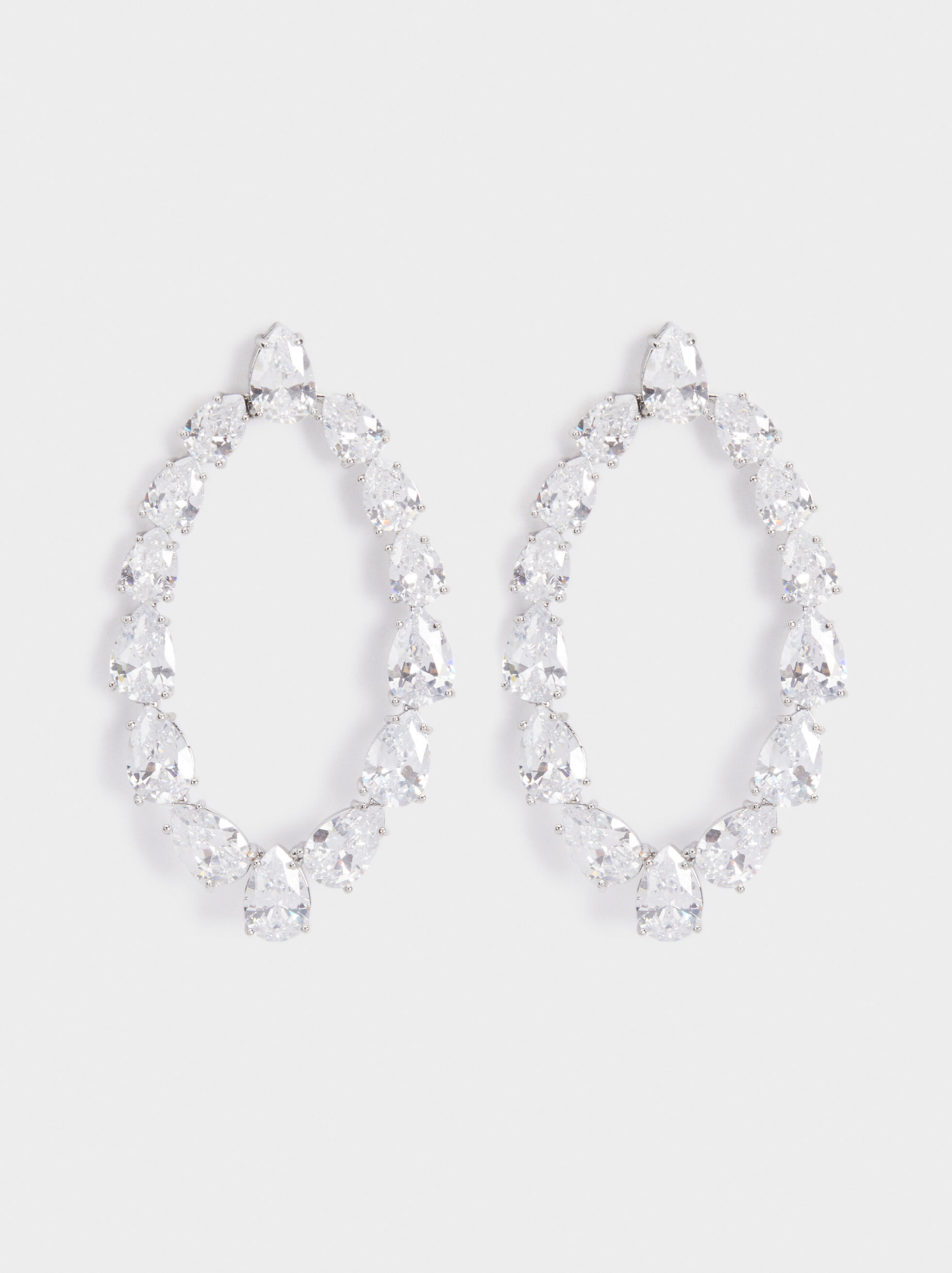 Sparkling Long Earrings, Silver, hi-res