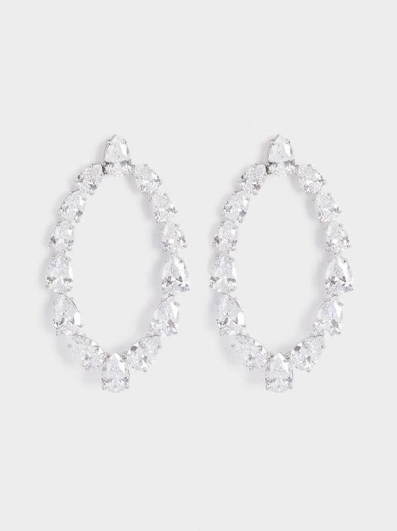Sparkling Long Earrings, Silver, hi-res