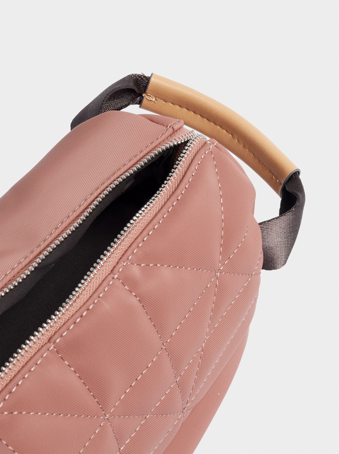 Combined Multi-Purpose Bag With Top Stitching, Pink, hi-res