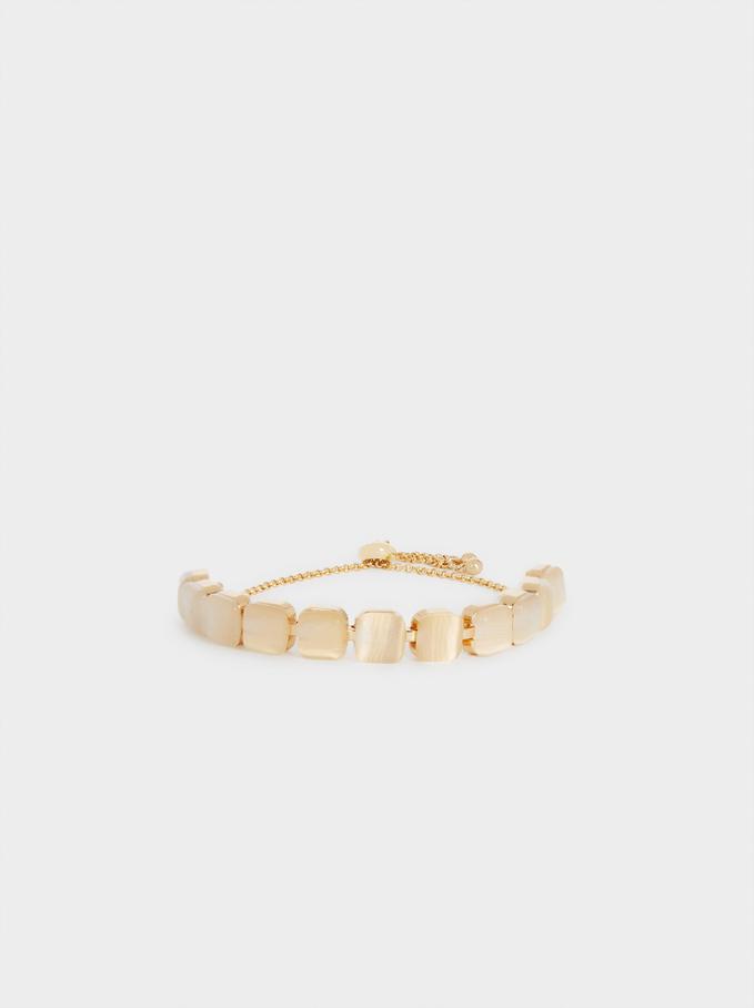 Adjustable Gloden Bracelet With Crystals, Golden, hi-res