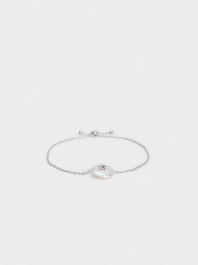 Adjustable 925 Silver Bracelet With Pearl, Beige, hi-res