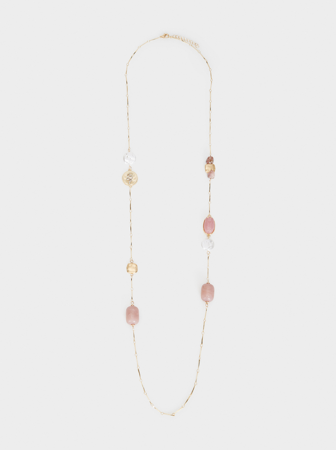 Petrified Long Beaded Necklace, Pink, hi-res