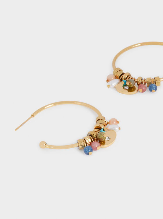 Créoles En Acier Avec Perles Fantaisie, Multicolore, hi-res