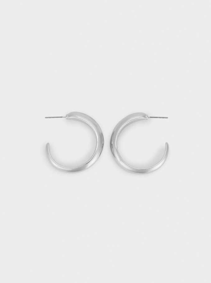 Basic Small Hoop Earrings, Silver, hi-res