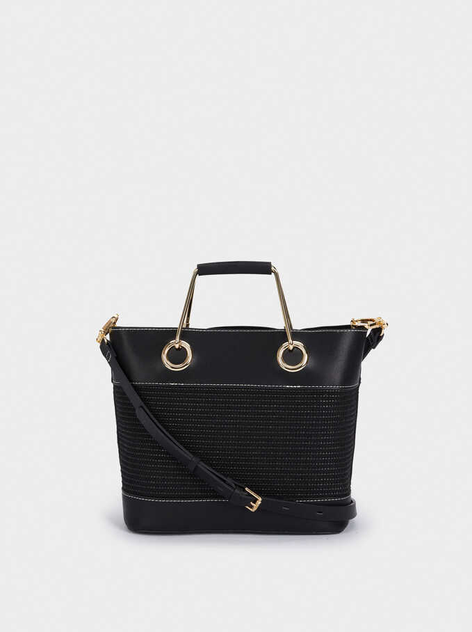 Contrast Tote Bag With Linen Lining, Black, hi-res