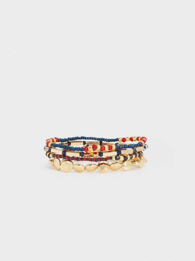 Karpa Set Of Elastic Bead Bracelets, Navy, hi-res