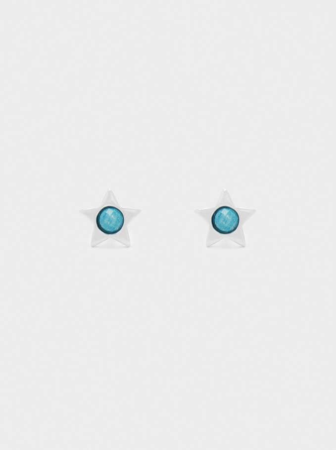 925 Silver Star Studs, Blue, hi-res