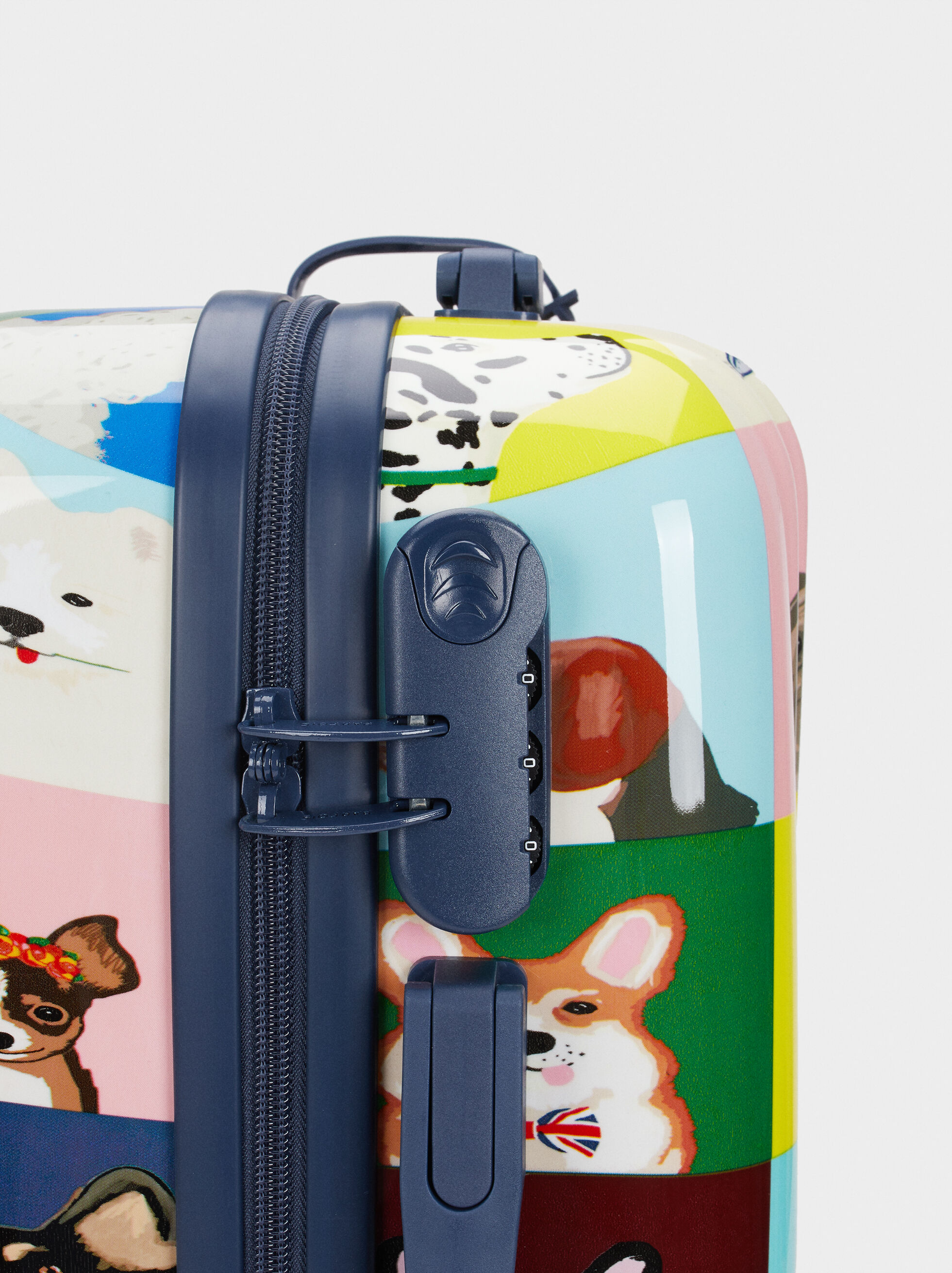 Printed Trolley Suitcase, Navy, hi-res