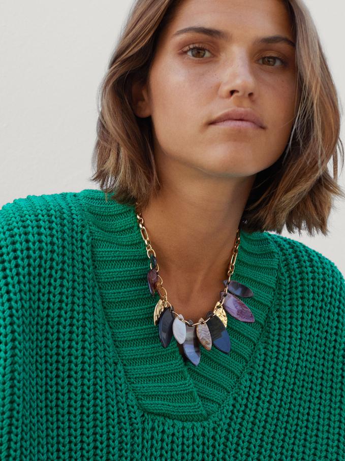 Collar Corto Con Hojas, Multicor, hi-res