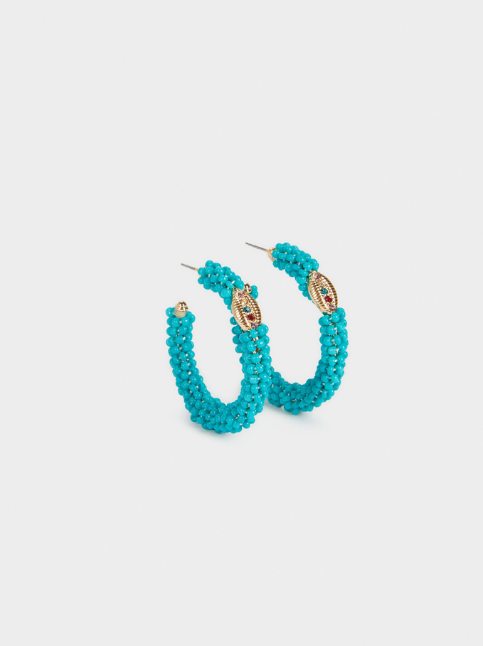 Beaded Hoop Earrings, Ecru, hi-res