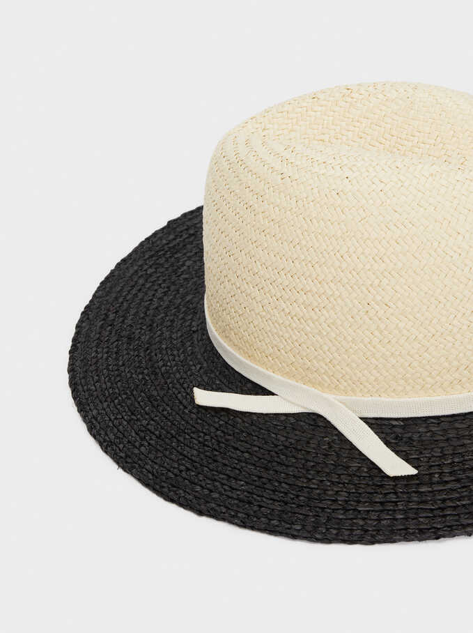 Two-Toned Raffia Hat, Black, hi-res