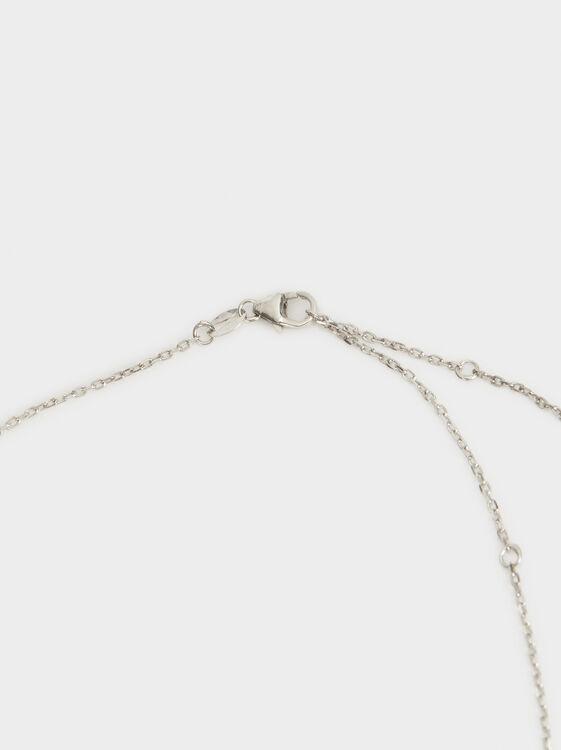 Short 925 Silver Shamrock Necklace, Silver, hi-res