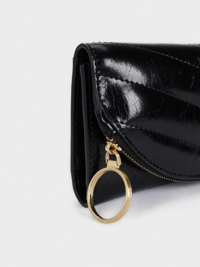 Quilted Wallet, Black, hi-res