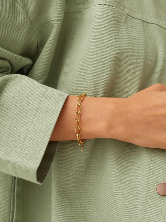 Bracelet Ajustable En Acier, Doré, hi-res