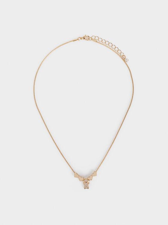 Girl'S Short Heart Necklace, Golden, hi-res
