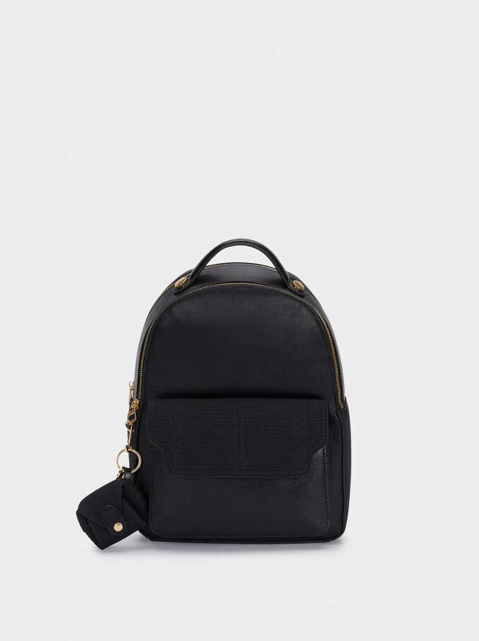 Patchwork Design Backpack With Detachable Straps, Black, hi-res