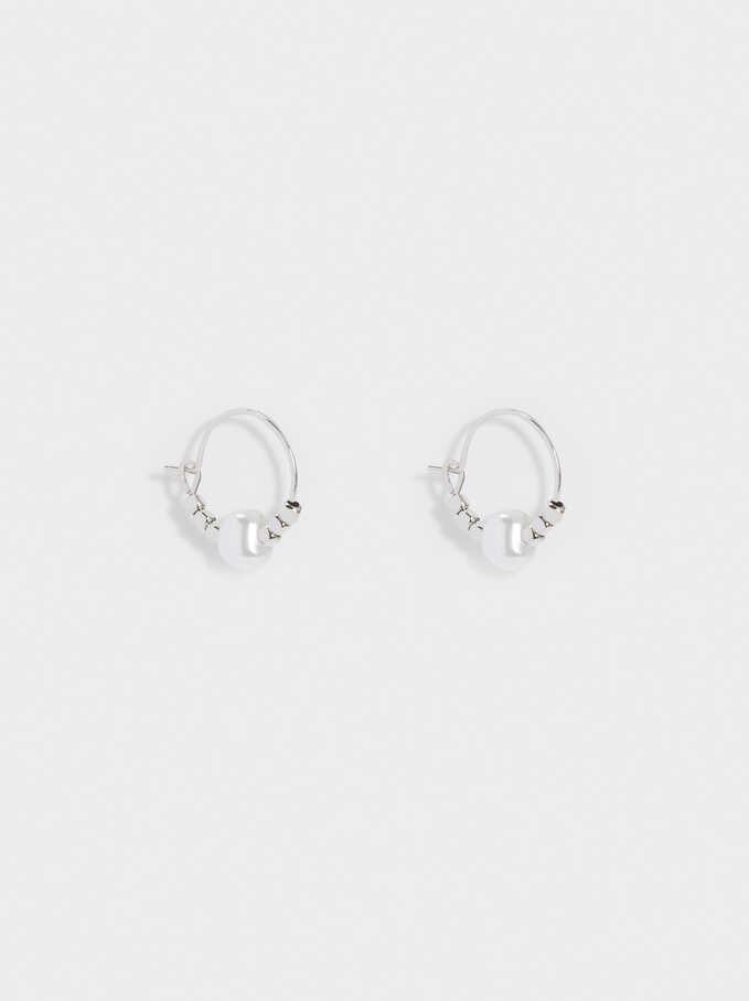 Short Hoop Earrings With Pearl, Silver, hi-res