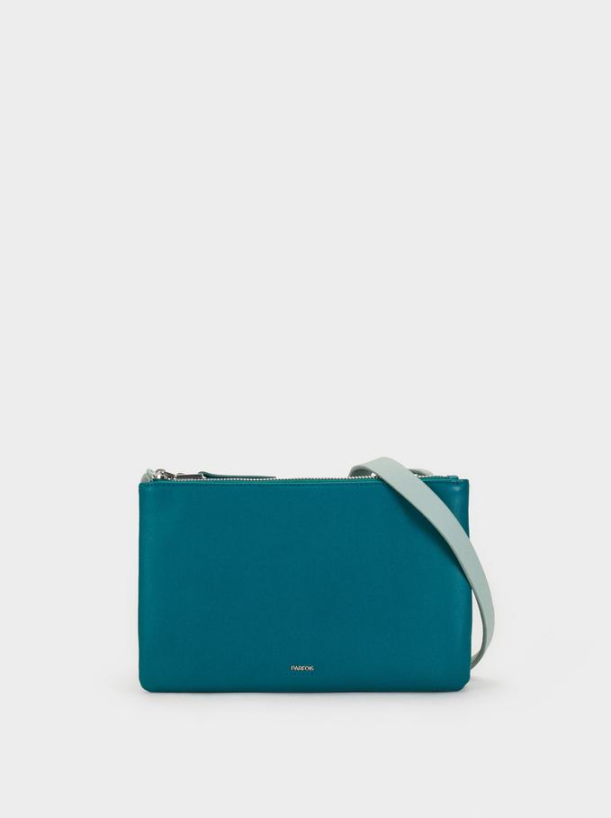 Three-Tone Crossbody Bag, Blue, hi-res