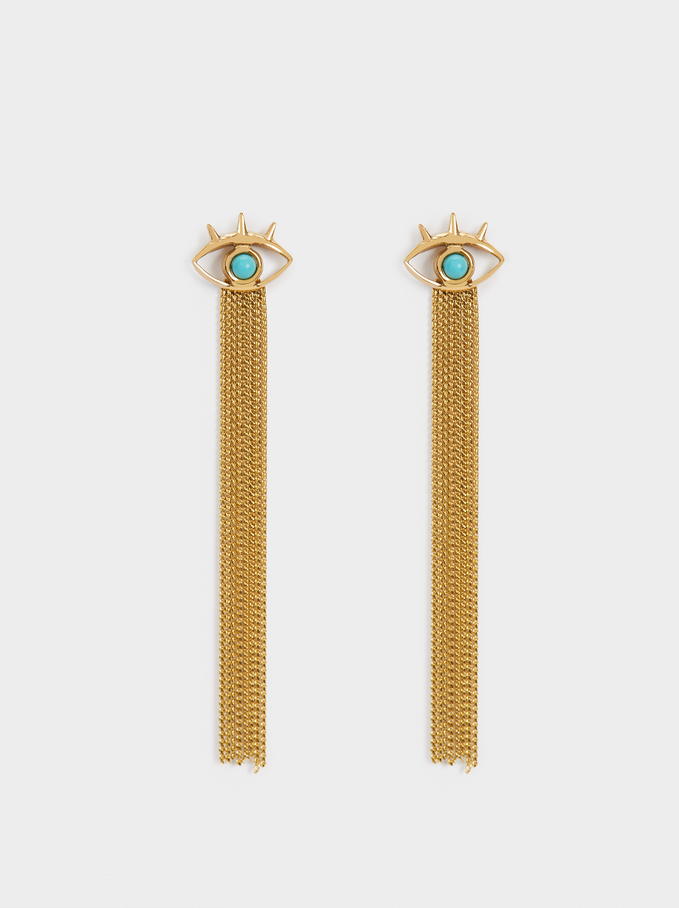 Long Steel Earrings With Stone And Eye, Blue, hi-res