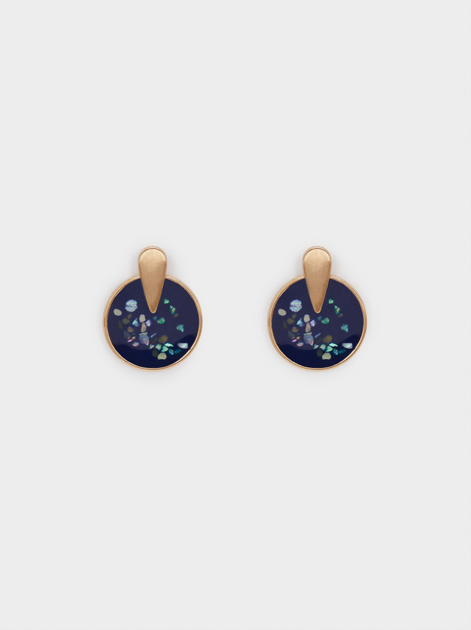Geometric Earrings, Navy, hi-res