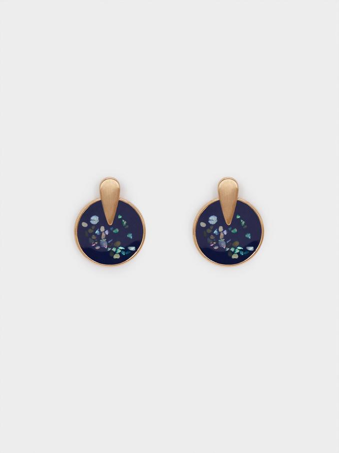 Boucles D'Oreilles Géométriques, Bleu Foncé, hi-res