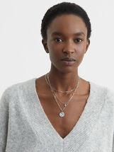 Pendant Necklace Set, Silver, hi-res