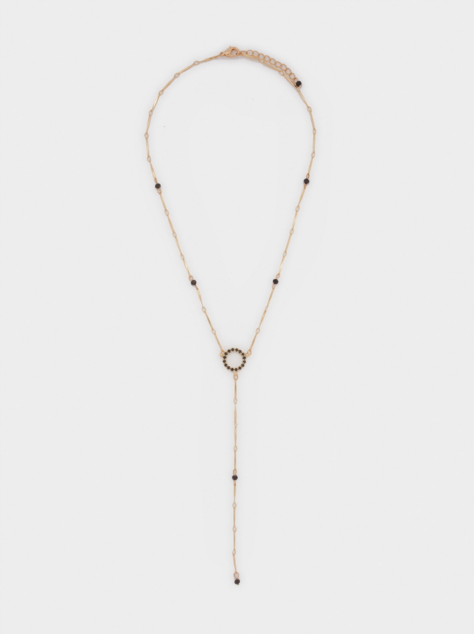Long Necklace With Crystal, Golden, hi-res
