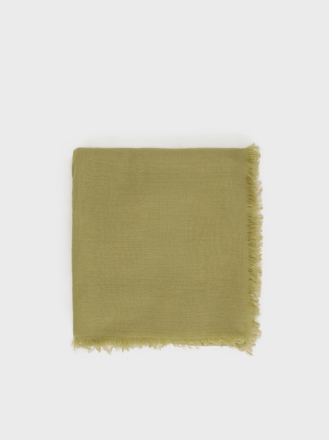 Plain Pashmina With Frayed Detailing, Khaki, hi-res