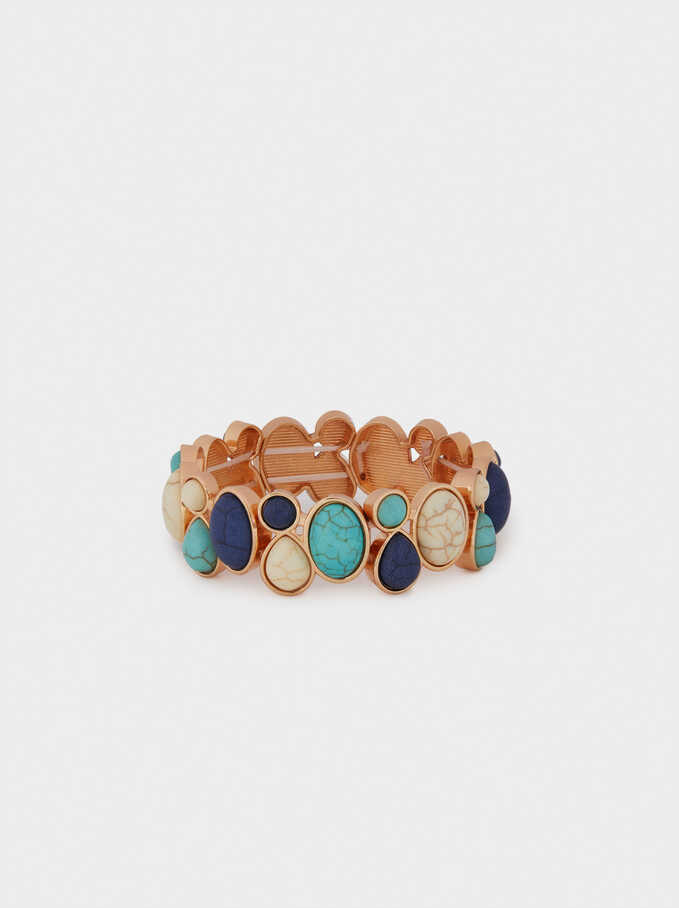 Elastic Bracelet With Stones, Blue, hi-res