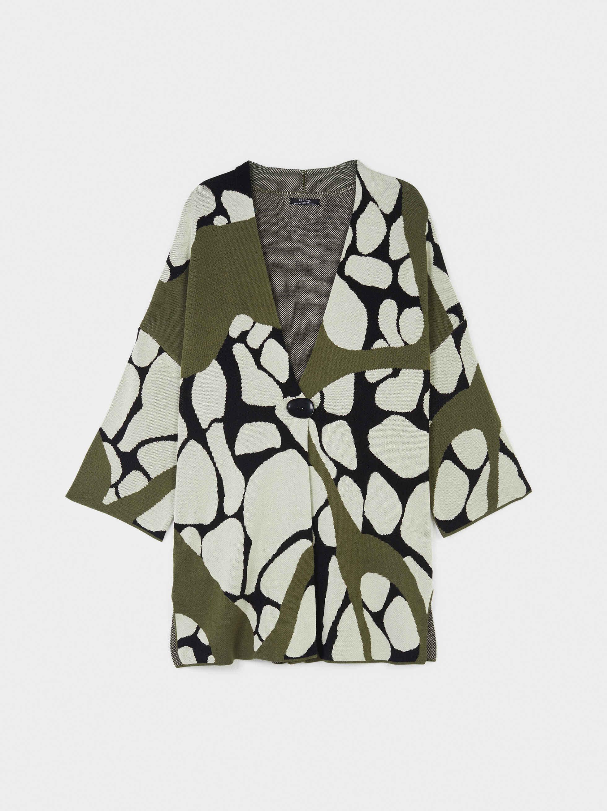 Printed Knit Kimono, Khaki, hi-res